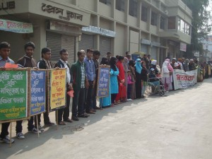 Human Chain against the Violation of Women and Children in front of Bagerhat Press Club. Picture- TIB.