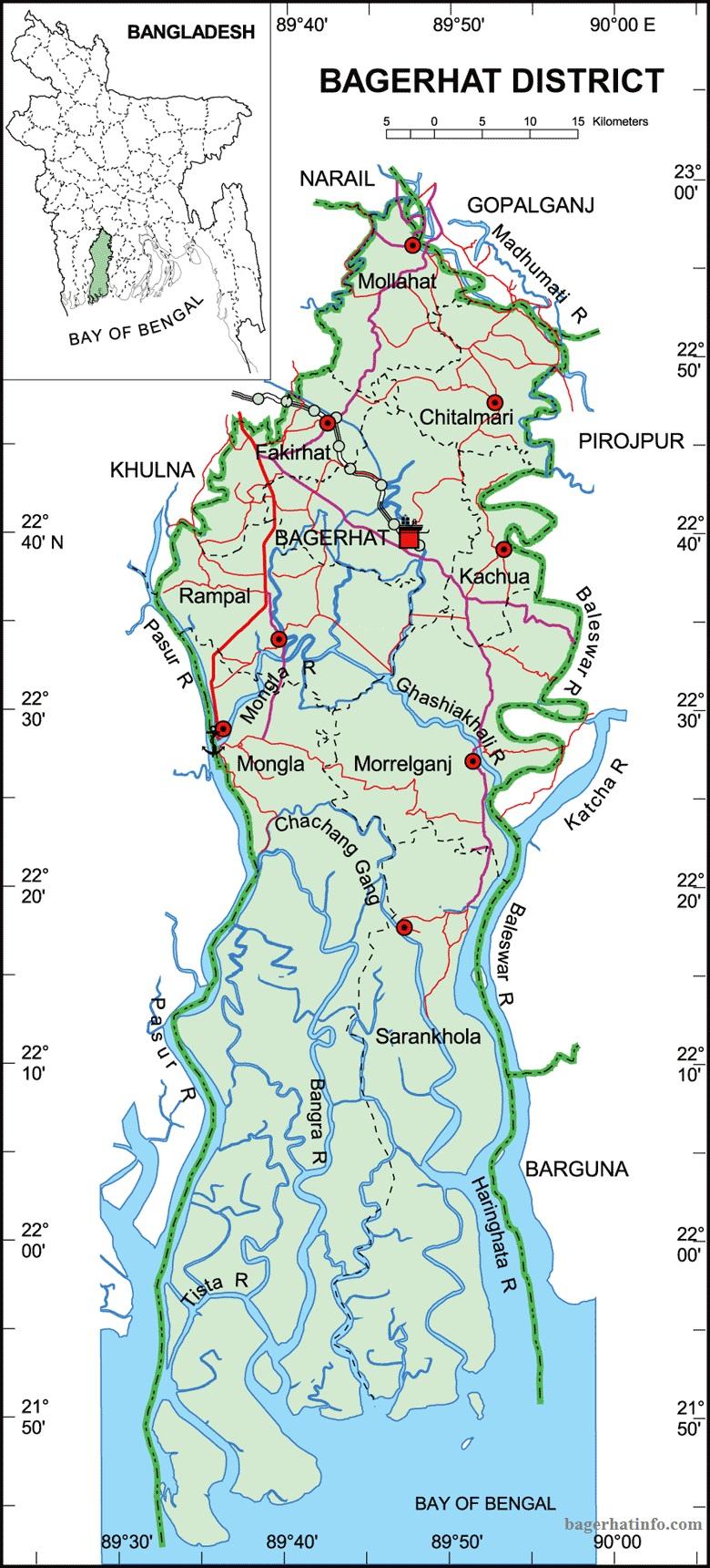 বাগেরহাট জেলার মানচিত্র